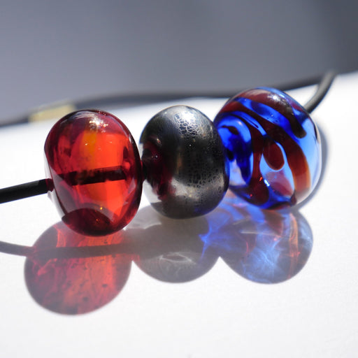 Hollow Bead Necklace (Three Beads) - Artfest Ontario - Fire & Flame Glassworks - Glass Work