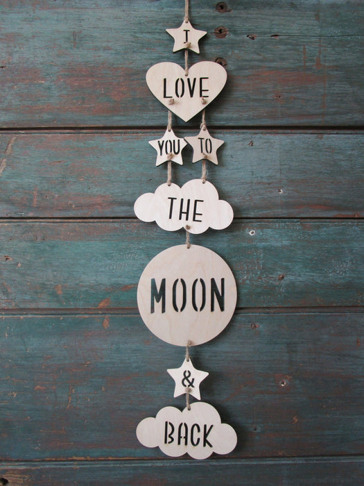 I Love You To The Moon And Back Wall Mobile - Artfest Ontario - Urban Nest Decor - Wall Mobiles