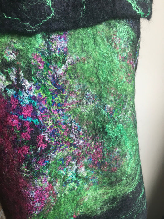 Dramatic black and green felted wrap
