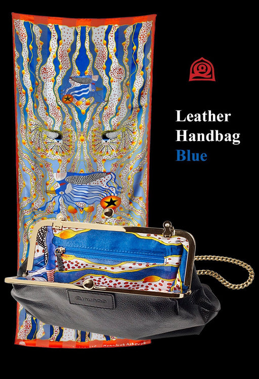 Inunoo Leather Handbag (Blue) - Artfest Ontario - Inunoo - Leather Handbags
