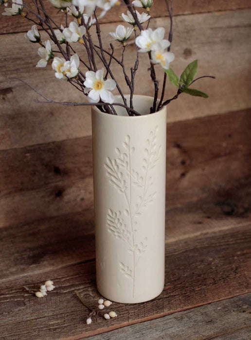 Ivory cylinder vase with carved branches - small - Artfest Ontario - Dotti Potts - Pottery