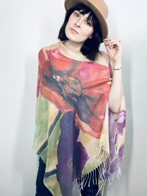 Large Poppy Multi Floral Watercolour Light Draped Shawl - Artfest Ontario - Halina Shearman Designs - Draped Shawl