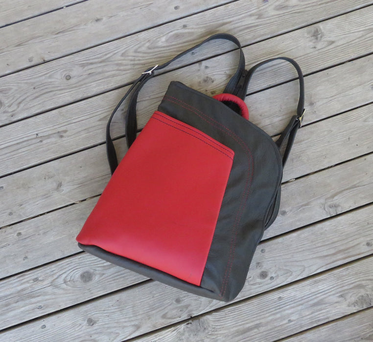 Large Stroll Bag- black with red pocket and decorative stitching - Artfest Ontario - Arrowsmith Leather - Clothing & Accessories