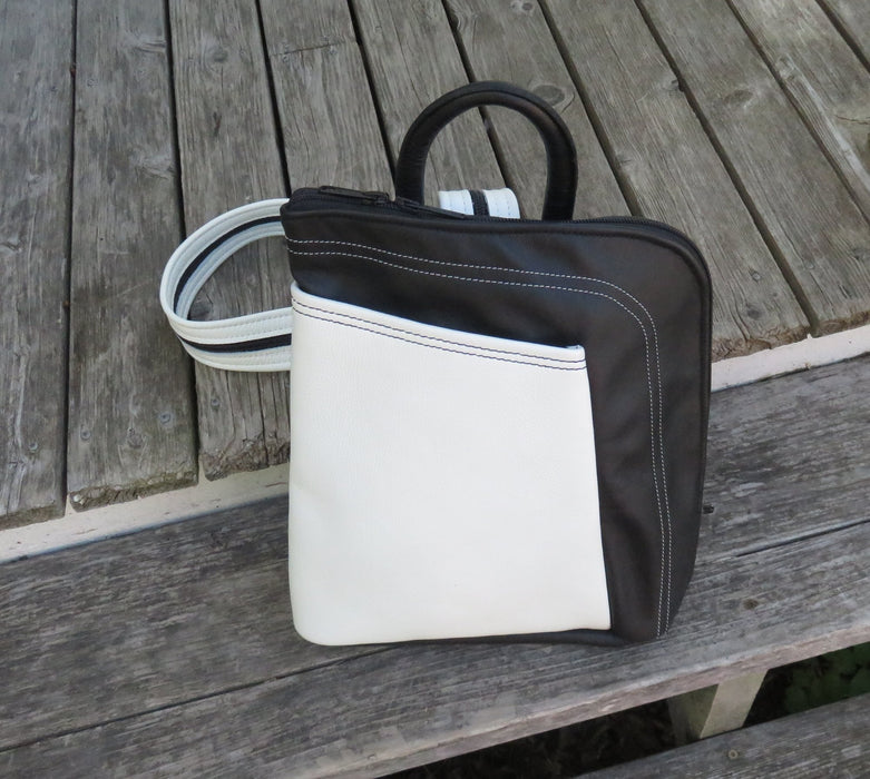 Large Stroll Bag- black with white pocket and decorative stitching - Artfest Ontario - Arrowsmith Leather - Clothing & Accessories