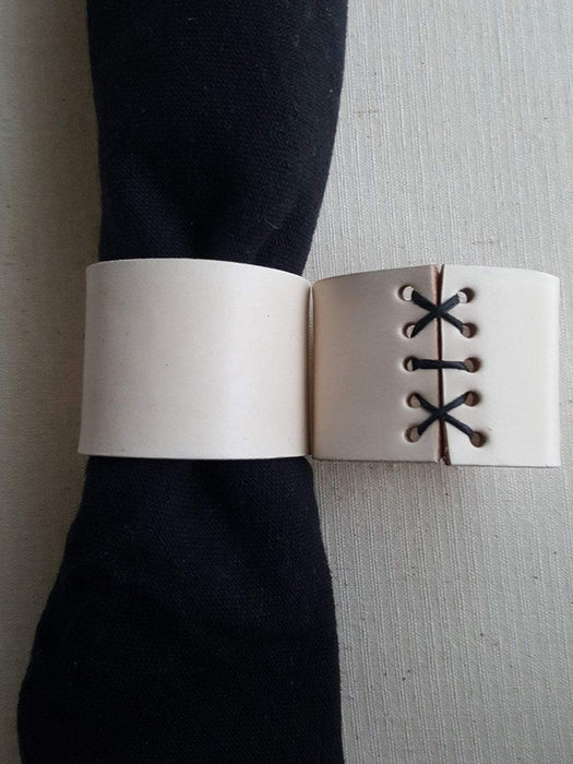 Leather Napkin Rings with Hand Stitched Lace - Artfest Ontario - Iron Art - Clothing & Accessories