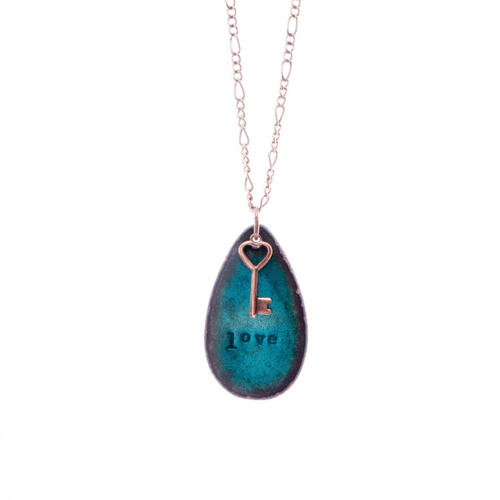 Love & Key Necklace in Shimmering Turquoise - Artfest Ontario - Aflame Creations Jewelry - Jewellery