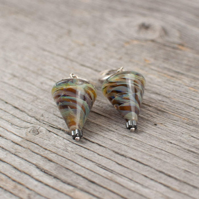 Mahogany Striped cone shaped borosilicate glass and silver earrings - Artfest Ontario - Lisa Young Design - Earrings