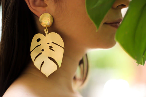Monstera Earrings - Artfest Ontario - Raw Jewelry -