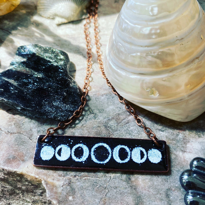 Moon Phase Necklace in Black & White - Artfest Ontario - Aflame Creations Jewelry - Jewellery