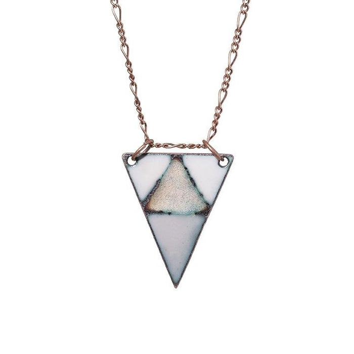 Mountain Triangle Necklace in Ivory, Warm Grey & Shimmering Copper - Artfest Ontario - Aflame Creations Jewelry - Jewellery