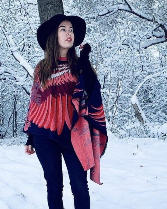 Navy and Red Feather Wing Cashmere Feel Draped Shawl Poncho - Artfest Ontario - Halina Shearman Designs - Clothing & Accessories