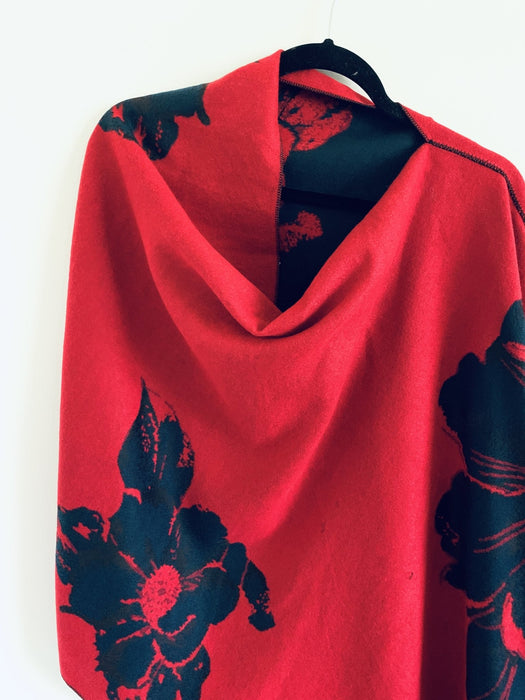 Navy and Red Floral Reversible Cashmere Feel Draped Shawl - Artfest Ontario - Halina Shearman Designs - Clothing & Accessories