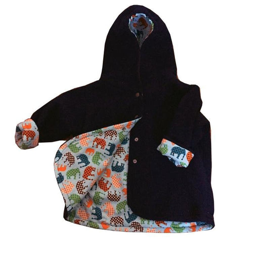 Navy Elephant Polar Fleece Reversible Jacket - Artfest Ontario - Muffin Mouse Creations - Clothing & Accessories