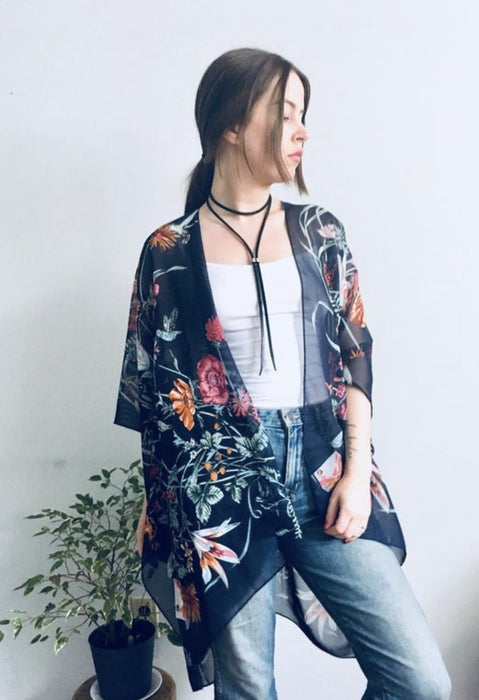 Navy Hummingbird Kimono - Artfest Ontario - Halina Shearman Designs - Clothing & Accessories