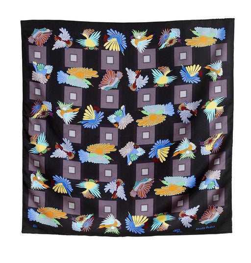 Night Migration Square Scarf (Black) - Artfest Ontario - Inunoo - Square Scarves