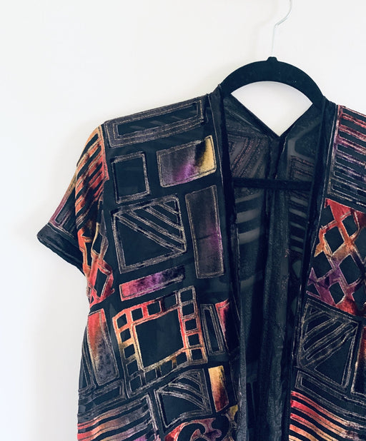 Orange and Purple Geometric Velvet Burnout Slim Fit Kimono - Artfest Ontario - Halina Shearman Designs - Clothing & Accessories
