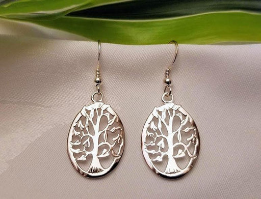 Oval Sterling Silver Tree Earrings - Artfest Ontario - Delicate Touch Jewellery - Fine Jewellery