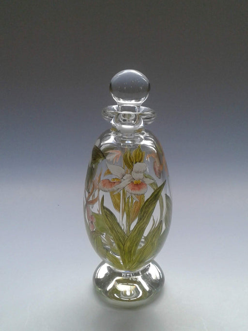 Painted Floral Bottle with Orchids - Artfest Ontario - Lukian Glass Studios - Glass Work