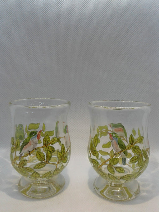 Pair of Birds Cuban Toddy Sipping Glasses - Artfest Ontario - Lukian Glass Studios - Glass Work