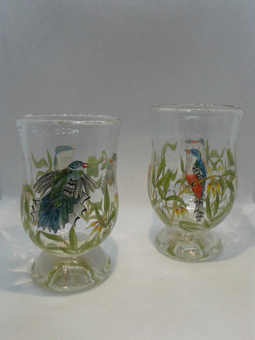 Pair of Trogons, National bird of Cuba Sipping Glasses - Artfest Ontario - Lukian Glass Studios - Glass Work
