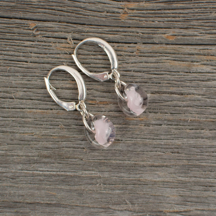 Pale pink borosilicate glass teardrop and silver earrings - Artfest Ontario - Lisa Young Design - Earrings