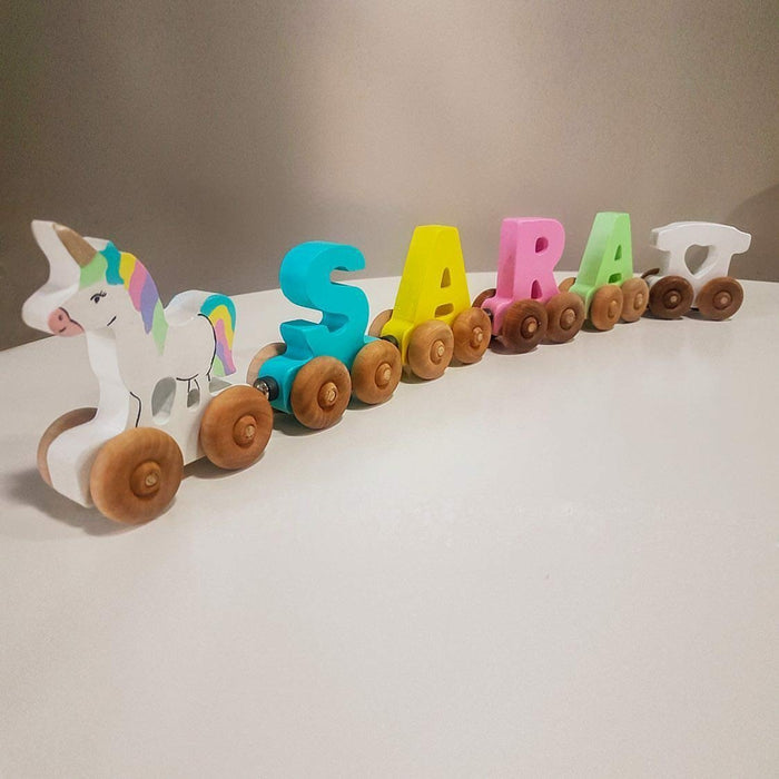 Personalised Wooden Magnetic Train - 4 letters - Artfest Ontario - Wooden Puzzle Name Canada - Toys & Games
