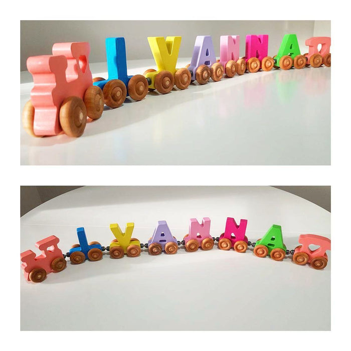 Personalised Wooden Magnetic Train - 6 letters - Artfest Ontario - Wooden Puzzle Name Canada - Toys & Games