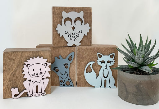"Personalized Critter Blocks, 4"" x 4"" Nursery Décor - Artfest Ontario - Urban Nest Decor - Personalized Critter Blocks"