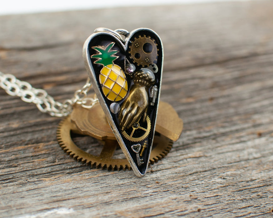 Pineapple long heart Necklace - Artfest Ontario - Lisa Young Design - Watch Part Necklaces
