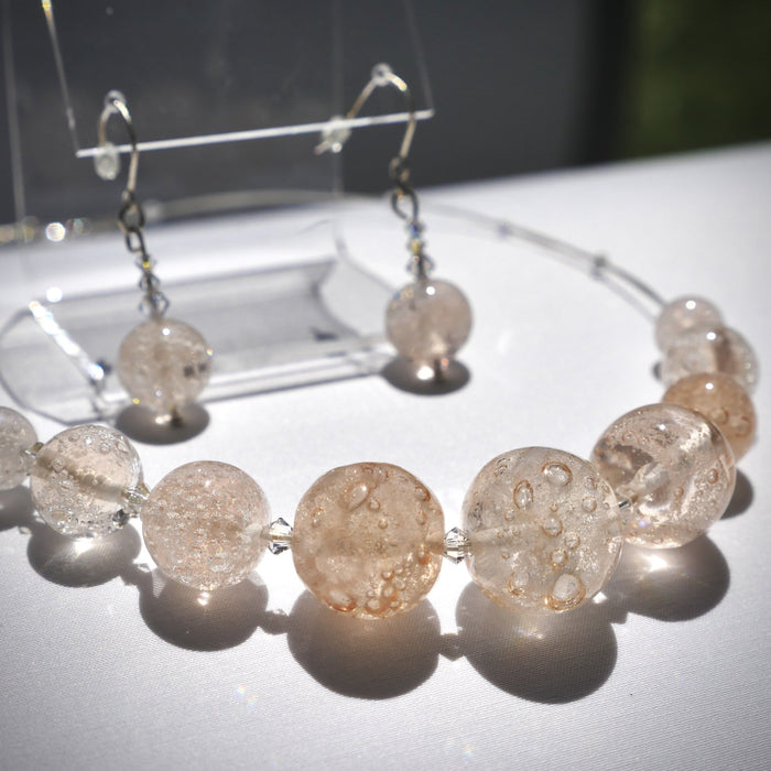 Pink Champagne Necklace and Earring Set - Artfest Ontario - Fire & Flame Glassworks - Glass Work