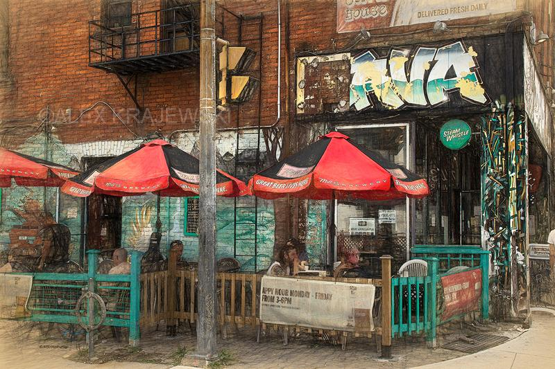 Queen Street West Java Bar - Toronto, ON - Artfest Ontario - Alex Krajewski Gallery - Paintings -Artwork - Sculpture