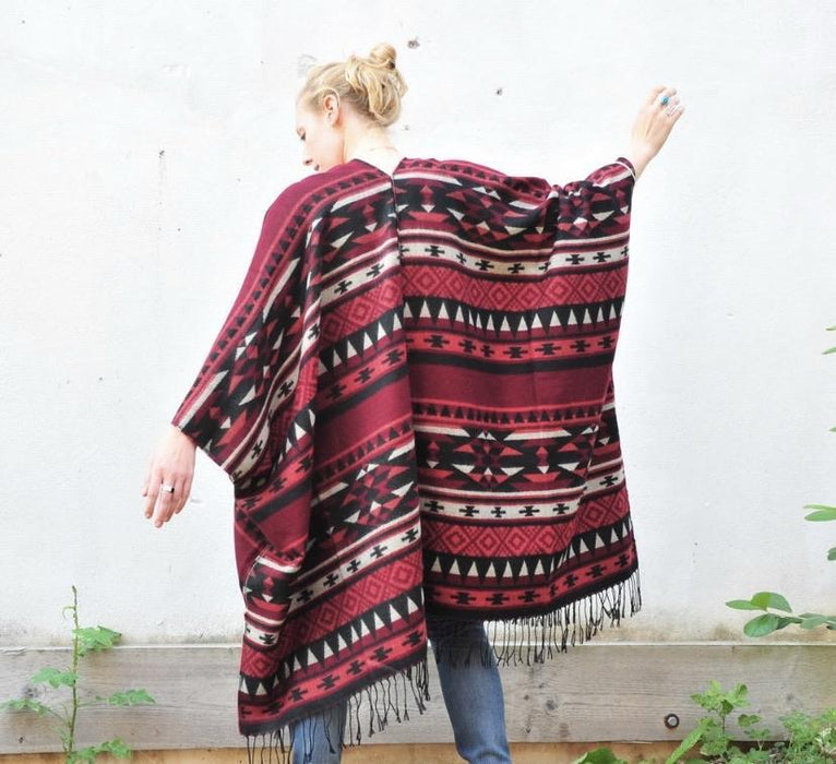 Red and Black Southwestern Print Blanket Poncho - Artfest Ontario - Halina Shearman Designs - Clothing & Accessories