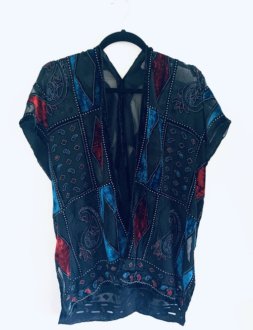Red and Blue Geometric Velvet Burnout Slim Fit Kimono - Artfest Ontario - Halina Shearman Designs - Clothing & Accessories