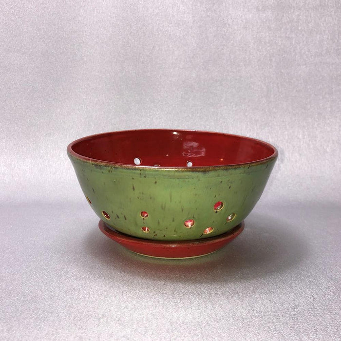 Red and Green Stoneware Berry Bowl - Artfest Ontario - Stevens Pottery - Pottery