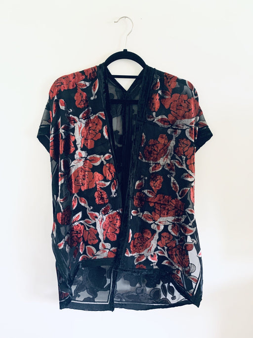 Red and Silver Floral Velvet Burnout Slim Fit Kimono - Artfest Ontario - Halina Shearman Designs - Clothing & Accessories
