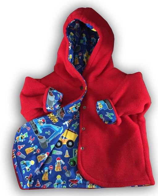 Red Big Trucks Polar Fleece Reversible Jacket - Artfest Ontario - Muffin Mouse Creations - Clothing & Accessories