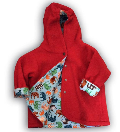 Red Elephant Polar Fleece Reversible Jacket - Artfest Ontario - Muffin Mouse Creations - Clothing & Accessories