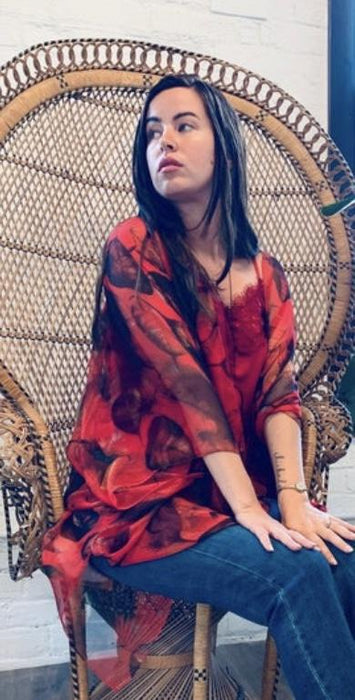 Red Leaf Kimono - Artfest Ontario - Halina Shearman Designs - Clothing & Accessories