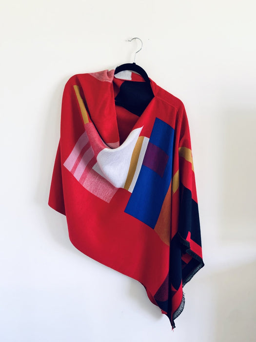 Red Multi Geometric Reversible Cashmere Feel Draped Shawl - Artfest Ontario - Halina Shearman Designs - Clothing & Accessories