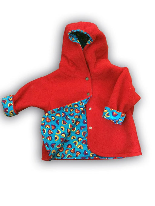 Red Rainbows Polar Fleece Reversible Jacket - Artfest Ontario - Muffin Mouse Creations - Clothing & Accessories