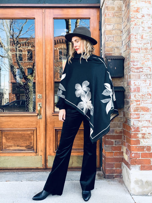 Reversible Black and Tan Floral Cashmere Feel Draped Shawl - Artfest Ontario - Halina Shearman Designs - Clothing & Accessories