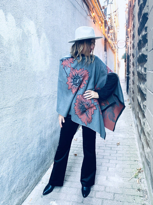 Reversible Grey and Pink Floral Cashmere Feel Draped Shawl - Artfest Ontario - Halina Shearman Designs - Clothing & Accessories