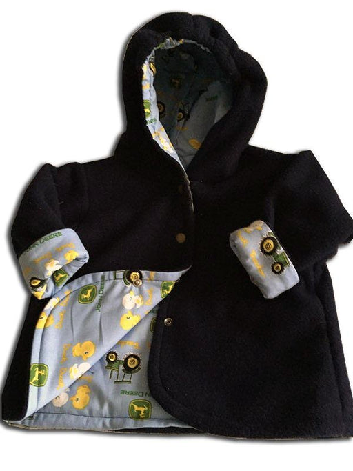 Reversible Jacket in Midnight Black Polar Fleece - Artfest Ontario - Muffin Mouse Creations - Clothing & Accessories