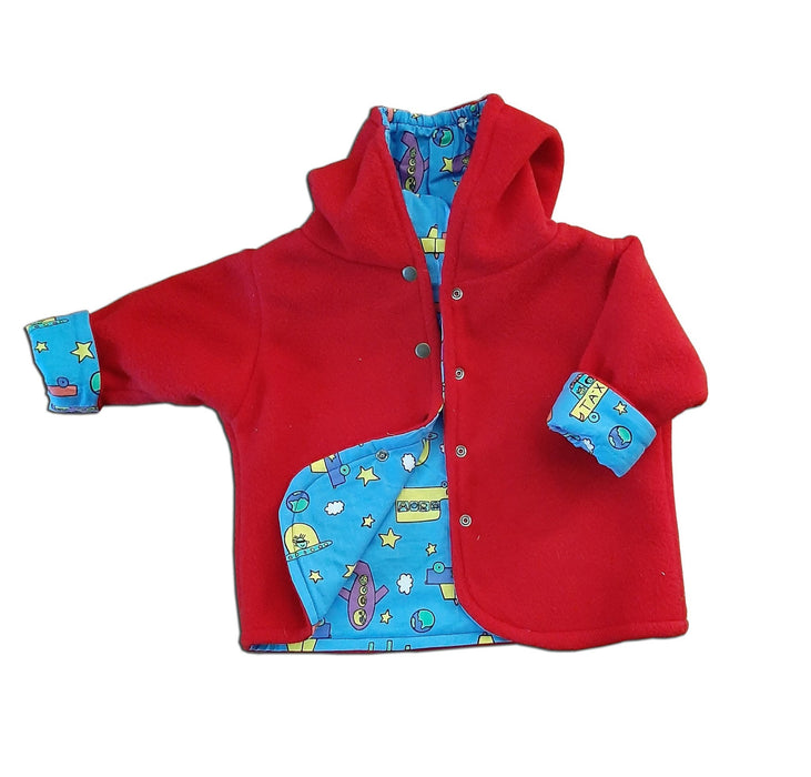 Reversible Jacket in Red Polar Fleece - Artfest Ontario - Muffin Mouse Creations - Clothing & Accessories
