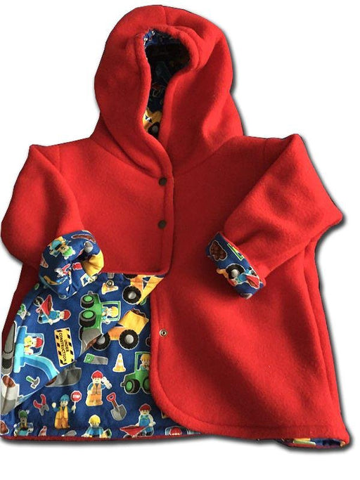 Reversible Jacket Red Polar Fleece- Blue Cotton Inside - Artfest Ontario - Muffin Mouse Creations - Clothing & Accessories