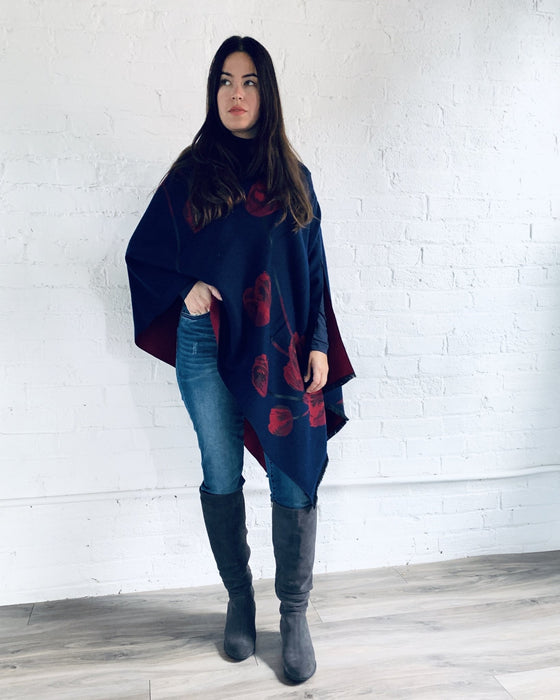 Reversible Navy and Red Cashmere Feel Draped Shawl - Artfest Ontario - Halina Shearman Designs - Clothing & Accessories