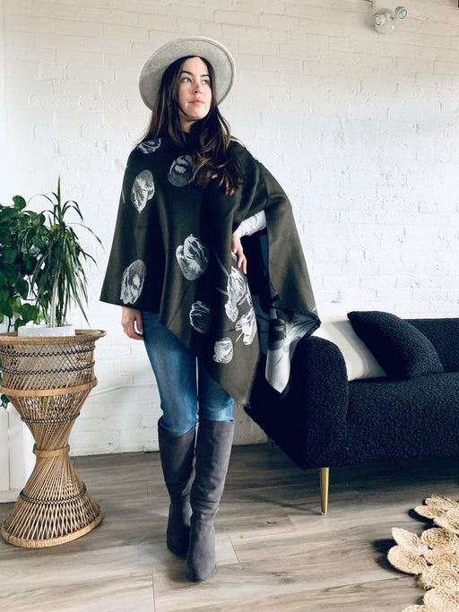 Reversible Olive and Grey Cashmere Feel Draped Shawl - Artfest Ontario - Halina Shearman Designs - Clothing & Accessories