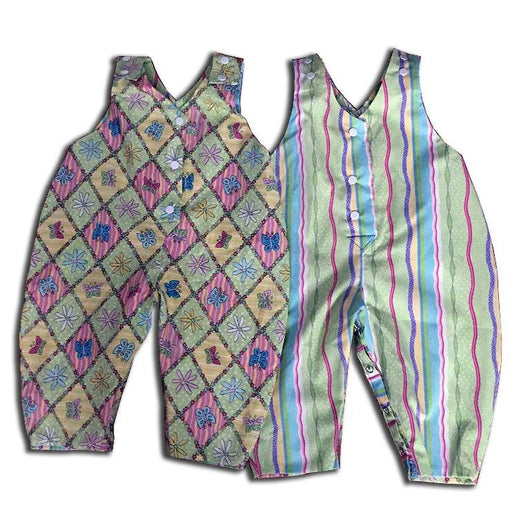 Reversible Romper Garden & Rainbow Stripe Design - Artfest Ontario - Muffin Mouse Creations - Clothing & Accessories