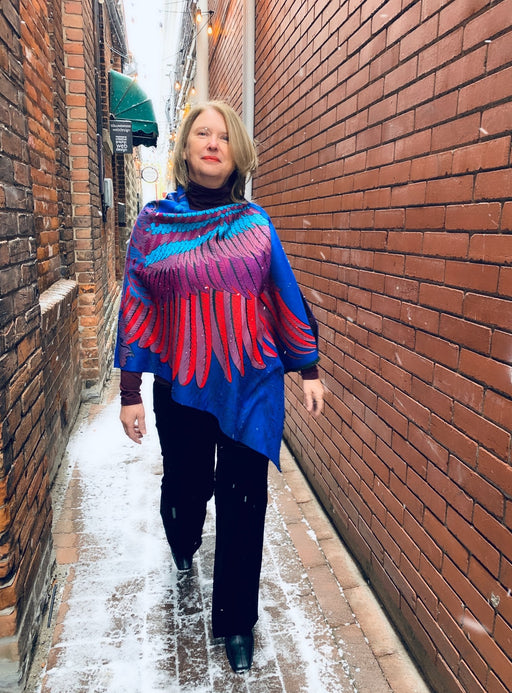 Reversible Royal Blue and Red Wong Cashmere Feel Draped Shawl - Artfest Ontario - Halina Shearman Designs - Clothing & Accessories