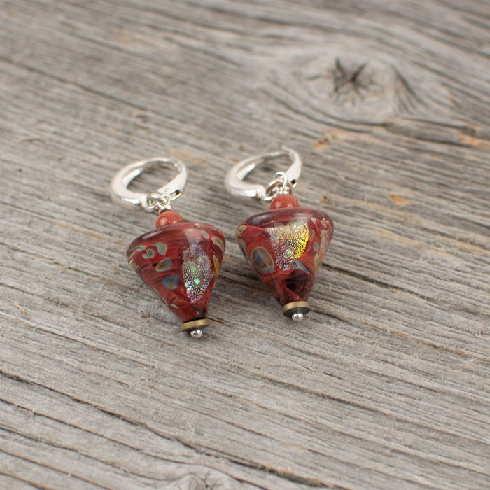 Rusty red cone shaped borosilicate glass and silver earrings - Artfest Ontario - Lisa Young Design - Earrings